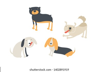 Vector scandinavian animal illustration set. Colorful childish pedigree dogs (beagle, rottweiler) sit, stay and lay isolated on white. Design for child goods decoration, print, souvenir, web backdrops