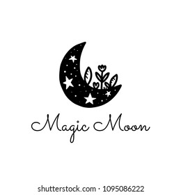 Vector scandinavian logotype, decorative illustration with moon and text.