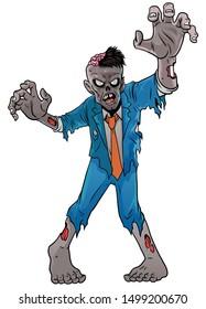 vector of scary  cartoon zombie of halloween