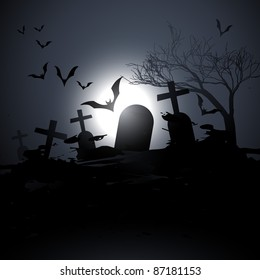 vector scary graveyard background with flying bats