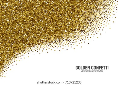 Vector Scattered Golden Confetti in Abstract Shape Isolated on White Background 3D Illustration. Slapstick Paper Round Gold Bright Particles. Graphic Design Template