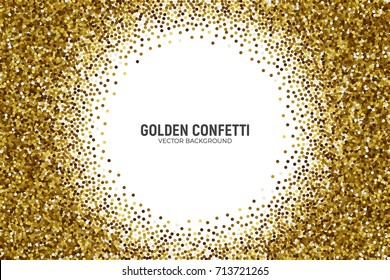 Vector Scattered Golden Confetti in Abstract Circle Frame Shape Isolated on White Background 3D Illustration. Slapstick Paper Round Gold Bright Particles. Graphic Design Template