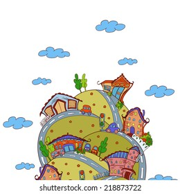 Vector scene with cartoon houses