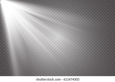 Vector scene illuminated by spotlight ray. Light effect on transparent background