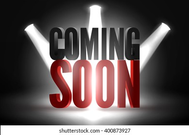 Vector scene illuminated spotlight. Coming soon on a show scene spotlight. Spotlight glow effect on black stage background. Coming soon under stage limelight on dark background.