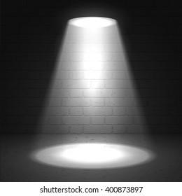 Vector scene illuminated spotlight. Light beam on dark stage highlight important. Show spotlight background vector. Stage limelight on dark grunge background. Cinema spotlight glow effect background.