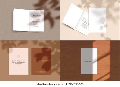 Vector scene, stationery mock up for social media. Editable transparent shadow. Background with sunlight