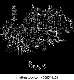 Vector scenic city sketch, view of Bruges canal and bridge with beautiful medieval houses, Belgium. White on black