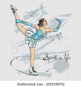 Vector scetch figure skater color