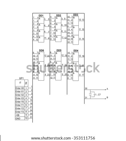 Vector Schematic Diagram Project Electronic Circuit Stock Vector