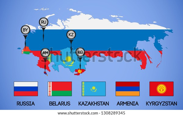 Vector schematic map of the member states of the Eurasian Economic Union. Flags and abbreviations Russia, Belarus, Kazakhstan, Armenia and Kyrgyzstan. (Russia without Crimea).
