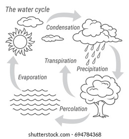 Water cycle images stock photos vectors shutterstock vector schematic representation of the water cycle in nature illustration of diagram water cycle ccuart Choice Image