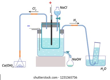 Vector scheme of electrolysis of sodium chloride