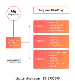 Vector scheme of the nutrients, vitamins and minerals. Daily dose of macronutrients. Vector infographic macronutrients. Magnesium - contain in food.