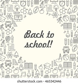 Vector school background, black on white. Education pattern with modern line style icons.