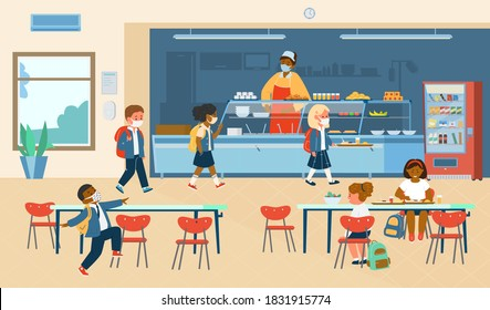 Vector School Canteen With Different Races Pupils In Protective Masks Standing In Line To Take Food  And Sitting At Table Eating. School Life During Covid-19 Pandemic. Flat Illustration.