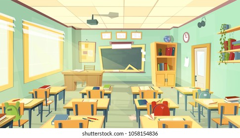 Vector school classroom interior. University, educational concept, blackboard, table, chair college furniture. Training room illustration, education background