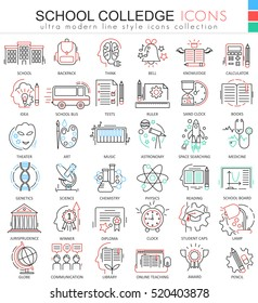 Vector School and colledge ultra modern outline line icons for apps and web design. School sybols for app and web