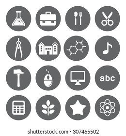 Vector School and Education flat icons, white on grey basis.