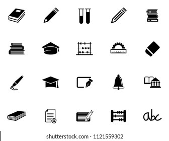 vector school education icons set - university diploma graduation symbols. student study computer science.