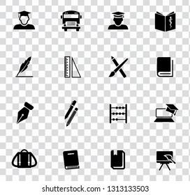 vector school education icons set - university diploma graduation symbols. student study computer science.
