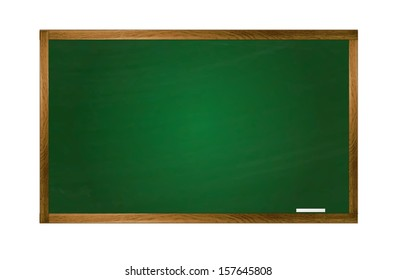 Vector school green class board with chalk. Isolation over white background. School is back.