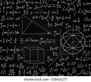 Vector school mathematical seamless pattern with elementary math hand drawn figures and handwritten formulas and equations, chalk on blackboard effect