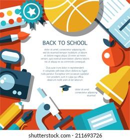 Vector school modern flat design flyer template