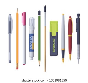 Vector school and office supplies stationery items assortment set pens pencils text marker corrector and brush