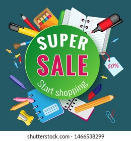 Vector school sale with colorful pencil brush and other school items on dark green background