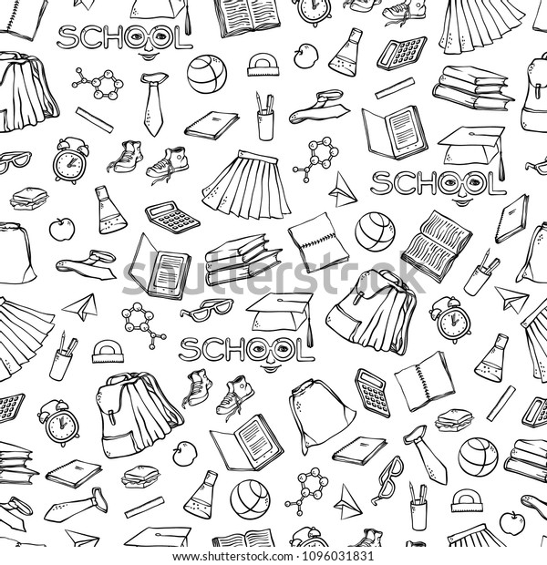 Vector School Seamless Pattern Clothes Stationery Stock Vector Royalty Free 1096031831