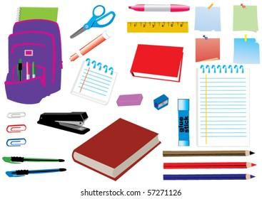 vector school supplies