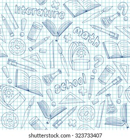 Vector school supplies pattern, hand drawn blue seamless school background doodle style, EPS 10