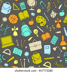Vector school supplies seamless pattern. Backpack, ruler, pen, pencil, bulb, laptop, apple, magnifier, compass icons.