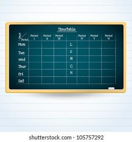 vector  school weekly timetable on the blackboard