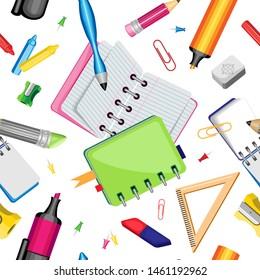 Vector schoolboy objects seamless pattern. On a white background