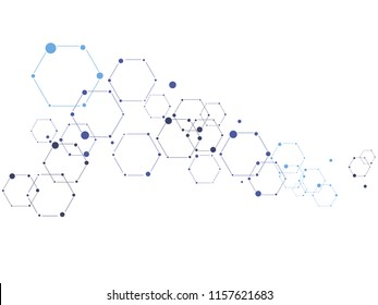Vector science ant technology concept. Molecule sign. Lines and dots connected into network.