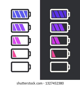 Vector science battery icon set. Battery  of varying degrees of charge. Battery symbol illustration in flat minimalism line style.