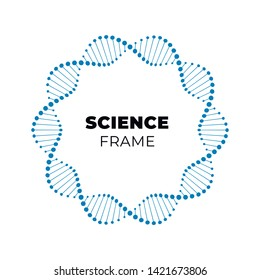 Vector science dna flat banner template. Blue atom spiral frame around text holder isolated on white background. Design for web, presentation, banner, poster.