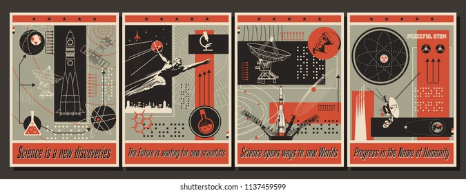 Vector Science and Education Poster Set Vintage Stylization