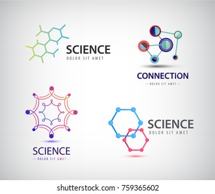 Vector science logos, chemistry icons, biology, dna etc.