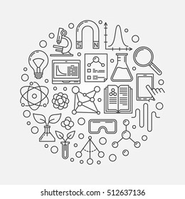 Vector science round illustration. Linear scientific research concept sign. Circular linear knowledge symbol