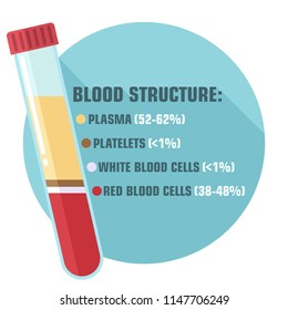 Vector scientific icon structure and components of blood. Illustration of a test tube with blood plasma, white and red blood cells