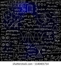 Vector scientific seamless backround with handwritten mathematical formulas, tables, star constellations
