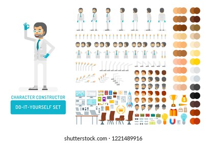 Vector scientist man in lab coat and gloves do-it-yourself creation kit. Full length, gestures, emotions - all character constructor elements for building your own design for infographic illustrations