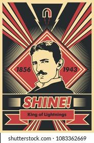 Vector Scientist Nikola Tesla Poster. Obey Stylization