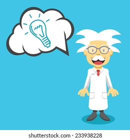 Vector scientist professor and speech bubble with hand drawn idea lightbulb. Creative vector flat illustration. Cute mascot concept. Trendy style graphic design elements. Isolated on blue background.