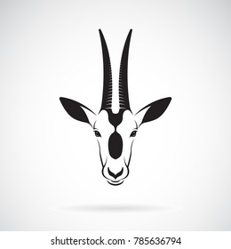 Vector of a Scimitar-horned Oryx head design on white background. Wild Animals. Easy editable layered vector illustration.