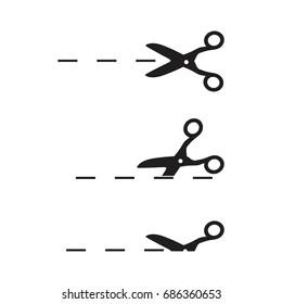 Vector scissors with cut lines  Scissors with cut lines Coupon cutting icon  Scissor cutting icon set
