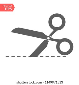 Vector scissors with cut lines isolated on white background